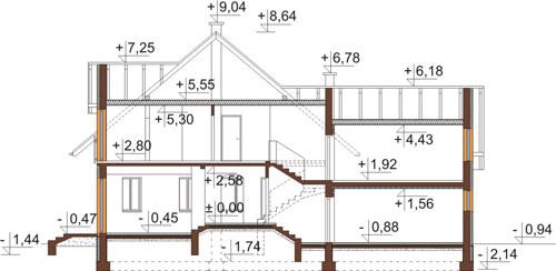 Projekt domu DM-6420 - przekrój