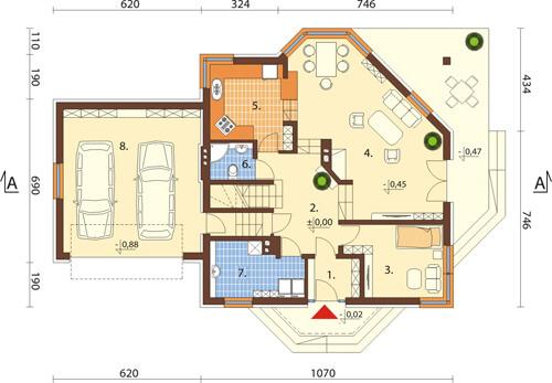 Projekt domu L-6420 - rzut