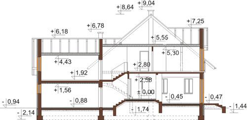 Projekt domu L-6420 - przekrój
