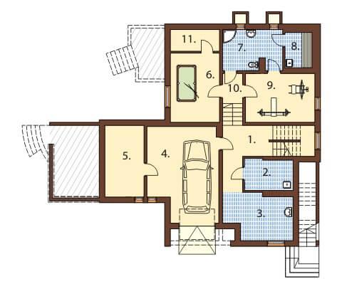Projekt domu DM-6158 B - rzut