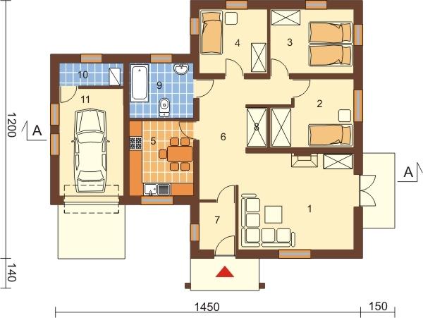 Projekt domu DM-6097 - rzut