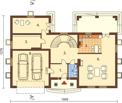 Projekt domu DM-6192 B - rzut