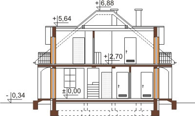 Projekt domu DM-6410 - przekrój