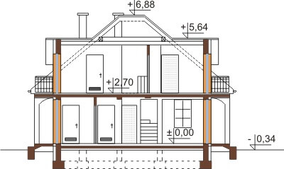 Projekt domu L-6410 - przekrój