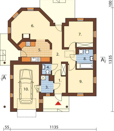 Projekt domu DM-6459 - rzut