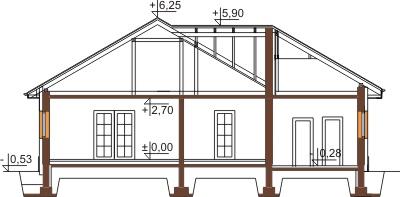 Projekt domu DM-6447 - przekrój