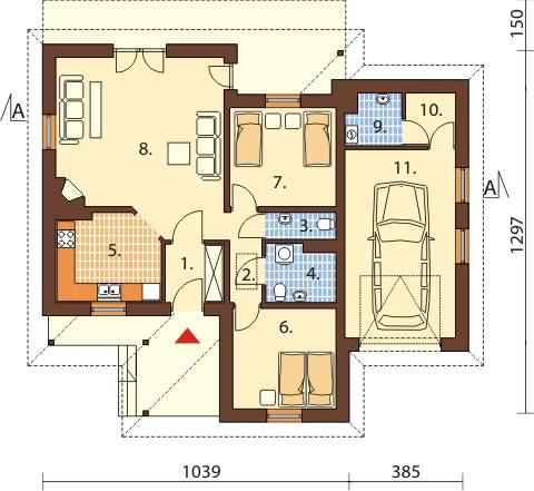 Projekt domu DM-6447 - rzut