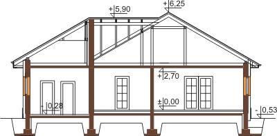 Projekt domu L-6447 - przekrój