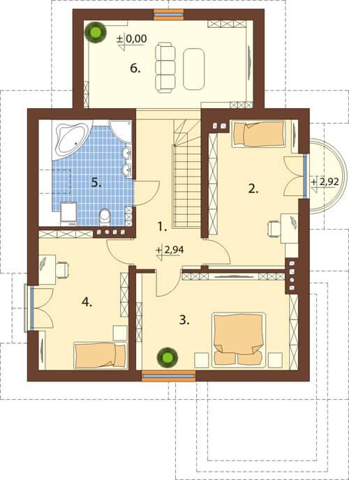 Projekt domu DM-6435 - rzut