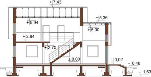 Projekt domu DM-6435 - przekrój