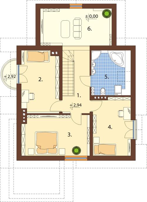 Projekt domu L-6435 - rzut