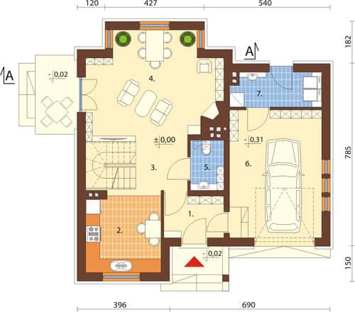 Projekt domu DM-6424 - rzut