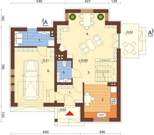 Projekt domu L-6424 - rzut
