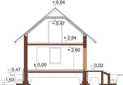 Projekt domu L-6424 - przekrój
