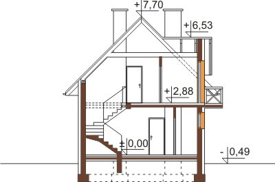 Projekt domu L-6457 - przekrój