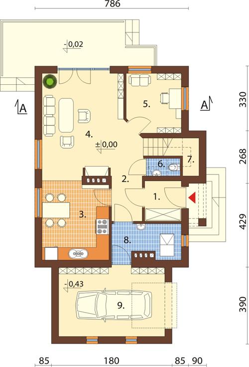 Projekt domu DM-6434 - rzut