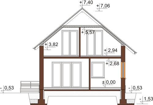 Projekt domu DM-6434 - przekrój
