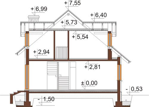 Projekt domu DM-6426 - przekrój