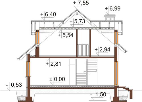 Projekt domu L-6426 - przekrój