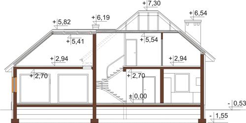 Projekt domu DM-6423 - przekrój
