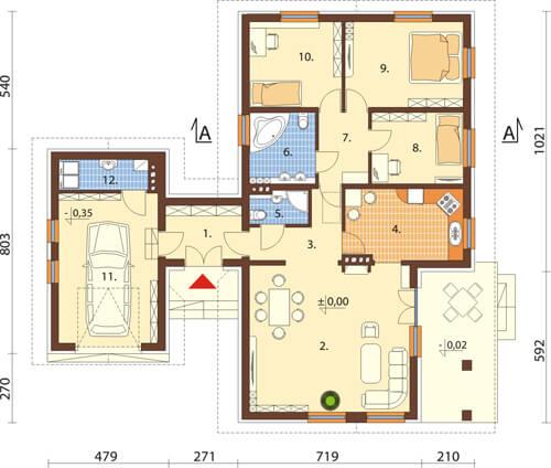 Projekt domu DM-6425 - rzut