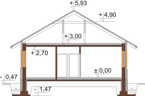 Projekt domu DM-6425 - przekrój