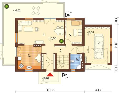 Projekt domu DM-6431 - rzut