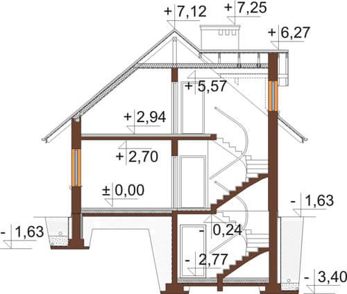 Projekt domu DM-6431 - przekrój