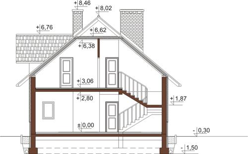 Projekt domu DM-6389 - przekrój