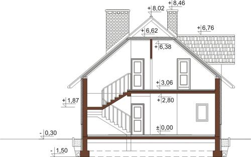 Projekt domu L-6389 - przekrój