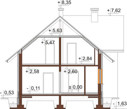 Projekt domu DM-6430 - przekrój