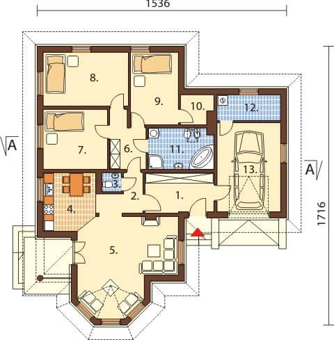 Projekt domu DM-6429 - rzut