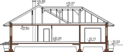 Projekt domu L-6429 - przekrój