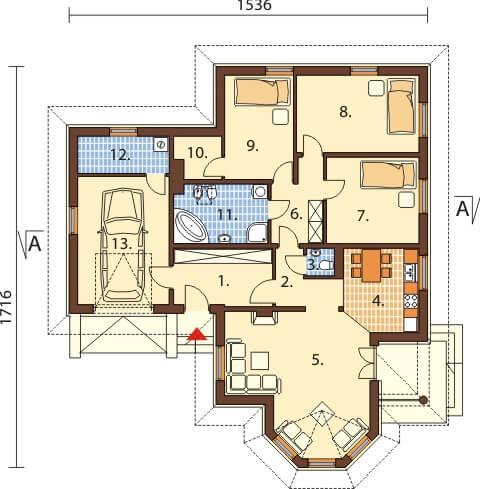 Projekt domu L-6429 - rzut
