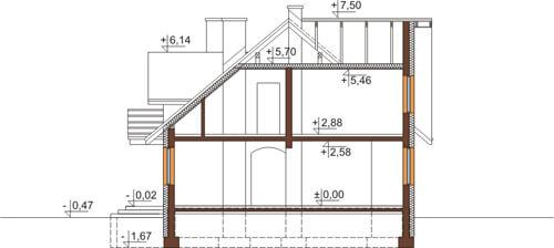 Projekt domu DM-6382 - przekrój