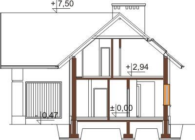 Projekt domu DM-6374 - przekrój