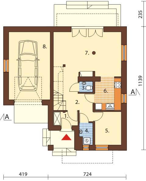 Projekt domu DM-6374 - rzut