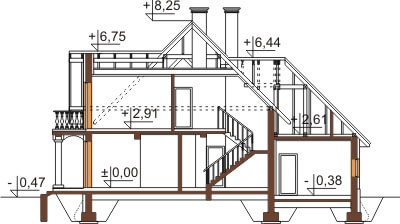 Projekt domu L-6379 - przekrój