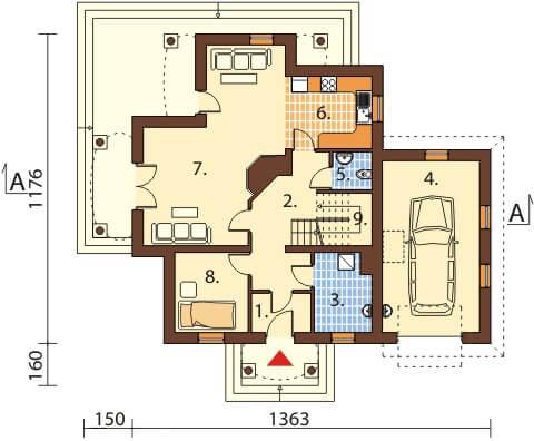 Projekt domu L-6379 - rzut