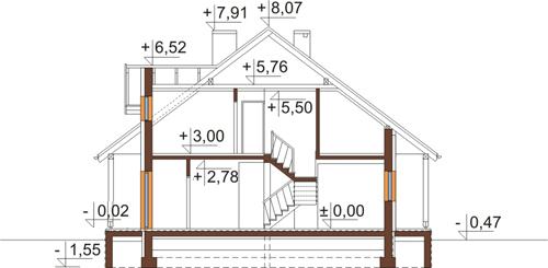 Projekt domu L-6388 - przekrój