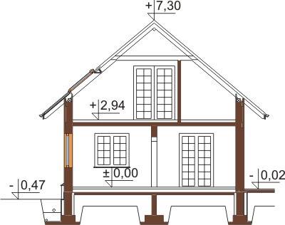 Projekt domu DM-6407 - przekrój