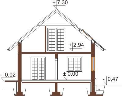 Projekt domu L-6407 - przekrój