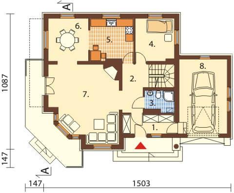 Projekt domu L-6407 - rzut