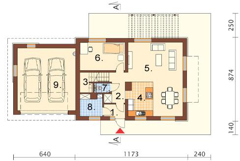 Projekt domu L-6421 - rzut