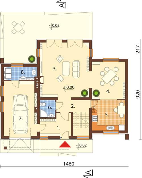 Projekt domu DM-6411 - rzut
