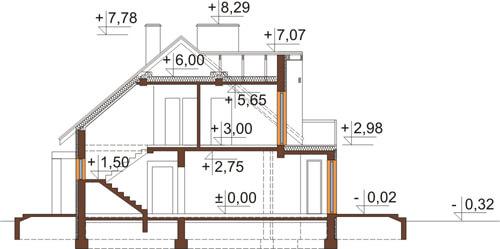 Projekt domu DM-6411 - przekrój