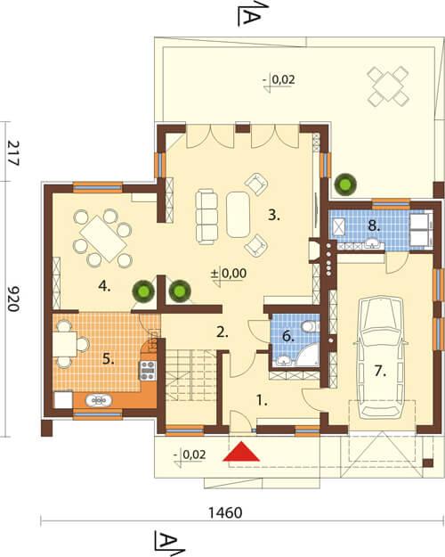 Projekt domu L-6411 - rzut