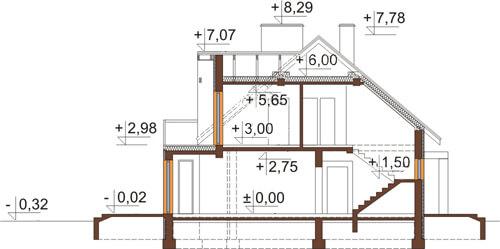 Projekt domu L-6411 - przekrój