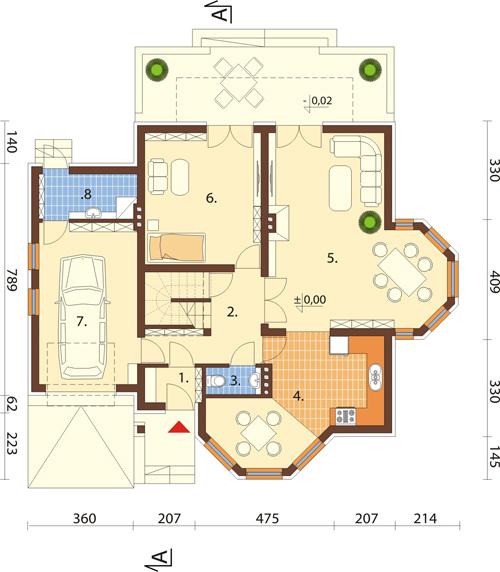 Projekt domu L-6405 - rzut