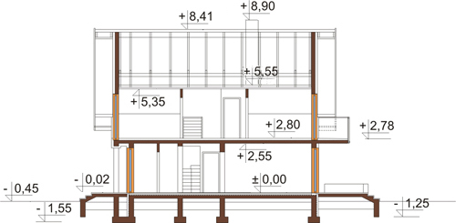 Projekt domu L-6405 - przekrój